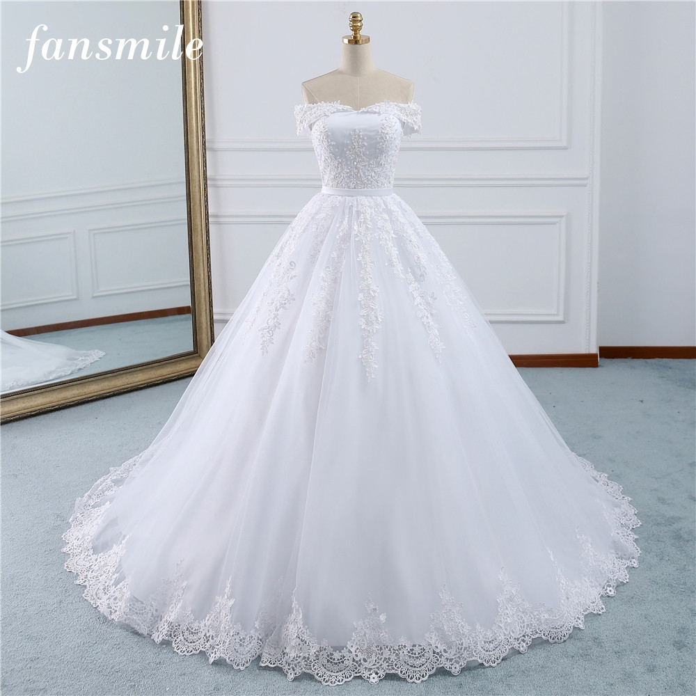 Fansmile 2020 Lace Gowns Wedding Dress Robe Princesse Mariage Plus Size Long Train Tulle Mariage Bridal Wedding Turkey FSM-433T