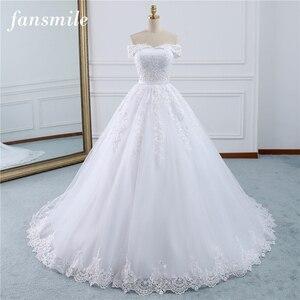Image 1 - Fansmile 2020 Lace Gowns Wedding Dress Robe Princesse Mariage Plus Size Long Train Tulle Mariage Bridal Wedding Turkey FSM 433T