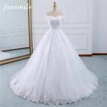 Fansmile 2020 dentelle robes Robe de mariée Robe Princesse Mariage grande taille longue Train Tulle Mariage mariée Mariage turquie FSM 433T