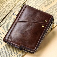 Wholesale 100% Genuine Leather Wallets Vintage Wallet Femal Trifold Wallet Zip Coin Pocket Purse Cowhide Leather Wallet For Mens