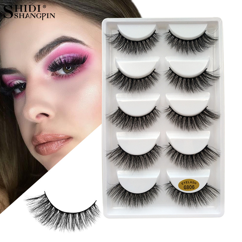 SHIDISHANGPIN False Eyelashes 3D Mink Lashes Natural Handmade Eyelash Extension Fake Eye Lashes For Beauty Makeup Mink Eyelashes