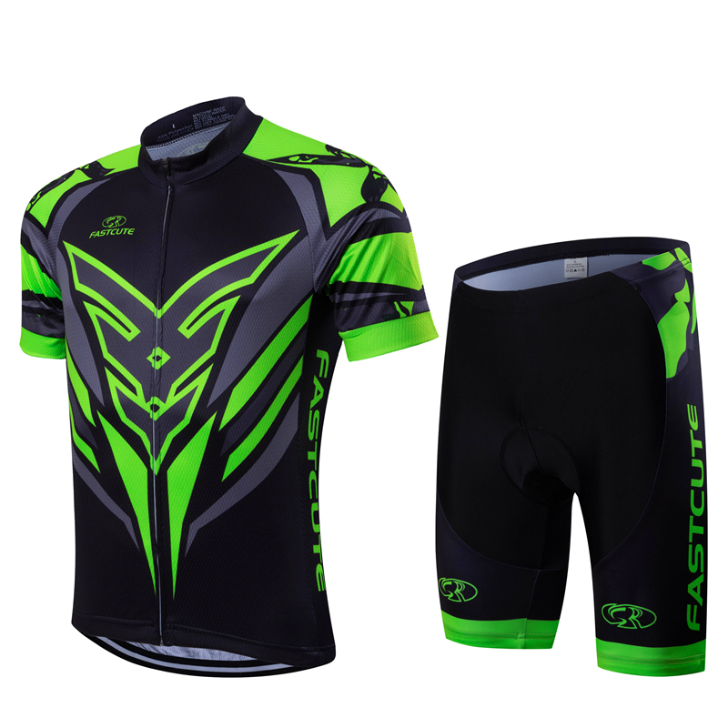 FASTCUTE high quality Short sleeve cycling jersey and bib shorts Pro team race tight fit bicycle clothing set with 9D gel pad