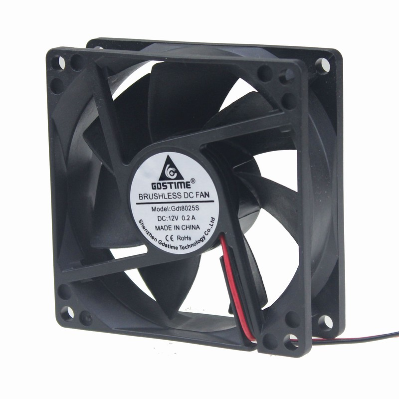 Gdstime 2pin 3 inches 80mm x 80mm x 25mm 12V DC Burshless PC Cooler Cooling Fan