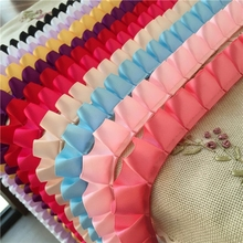 купить 5 Yards Pink White Black Satin Pleated Lace Trim 2.5cm Wide Cheap Ruffled Lace Ribbon Trim DIY Costume Sewing Supplies недорого
