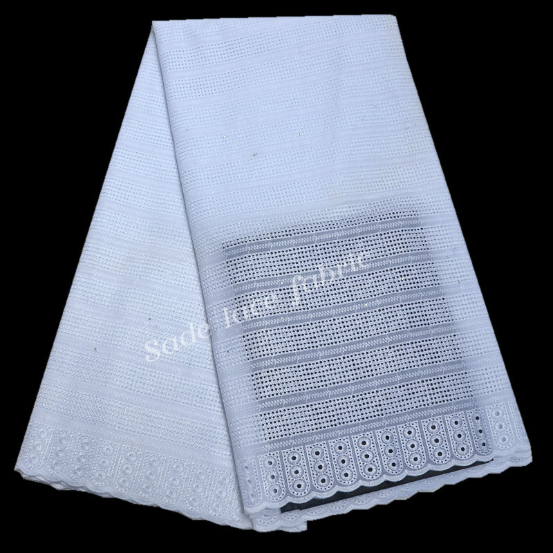 FolaSade White African Swiss Lace Fabric 2019 High Quality Eyelet Holes Cotton African Dry Lace Fabric
