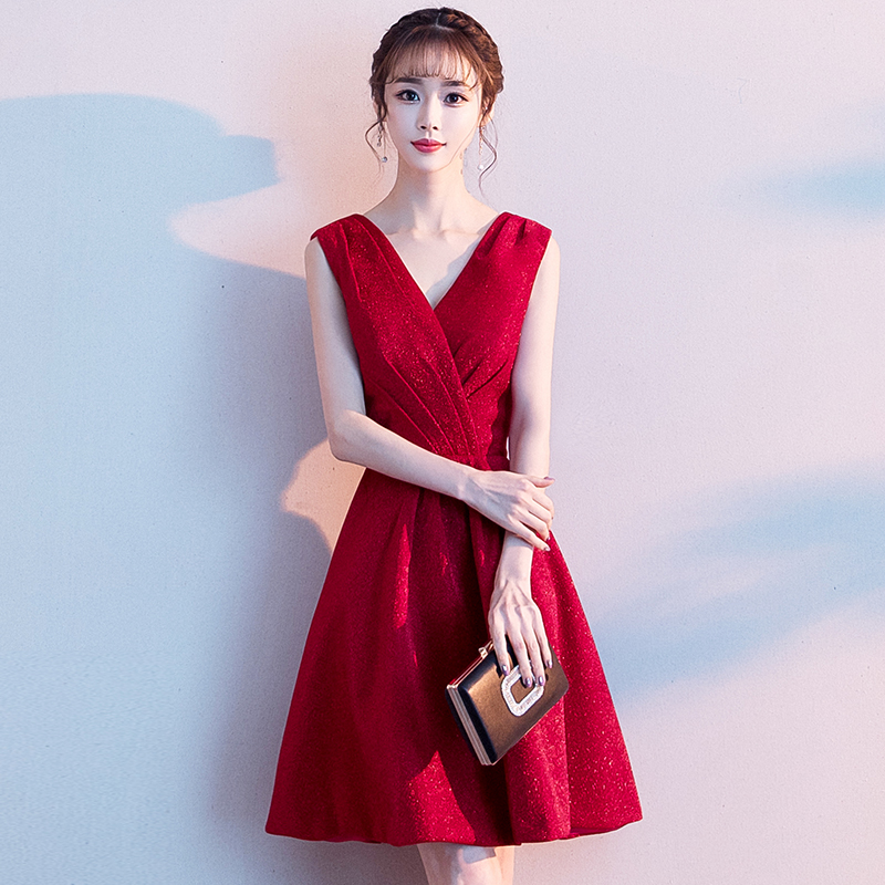 2019 Sexy Short   Cocktail     Dresses   Bridal Banquet Wine Red Party Formal   Dress   Homecoming   Dress   Robe De Soiree LF238