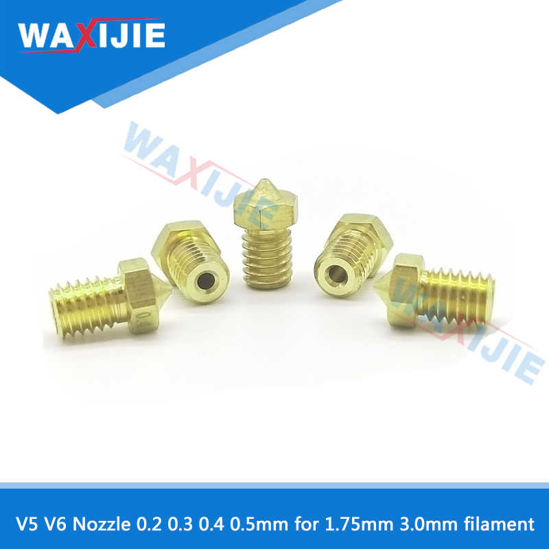 E3D V6 Nozzle V5 Nozzle M6 Threaded 0.2 Mm 0.3 Mm 0.4 Mm 0.5 Mm untuk 1.75 Mm 3.0 Mm filamen Tembaga Full Metal 3D Printer Bagian