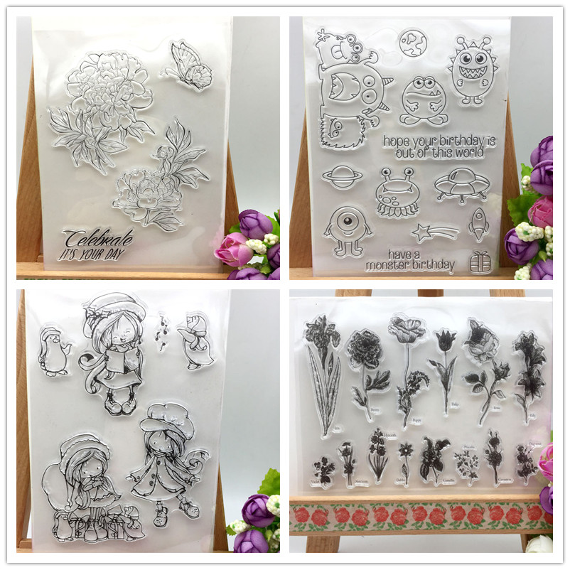 4 Different Designs Cute Transparent Clear Stamp DIY Silicone Seals Scrapbooking/Card Making/Photo Album Decoration Accessories loving heart and ballon transparent clear stamp diy silicone seals scrapbooking card making photo album craft cl 285
