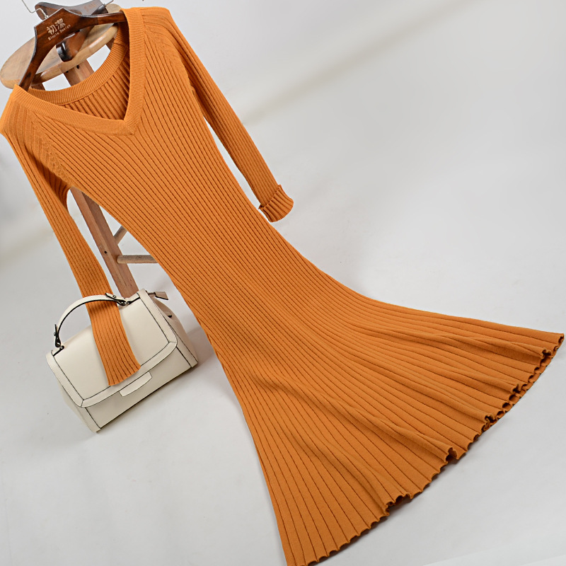 V neck new fund dress autumn winter knitting dress long sleeve raglan posed cultivate one morality