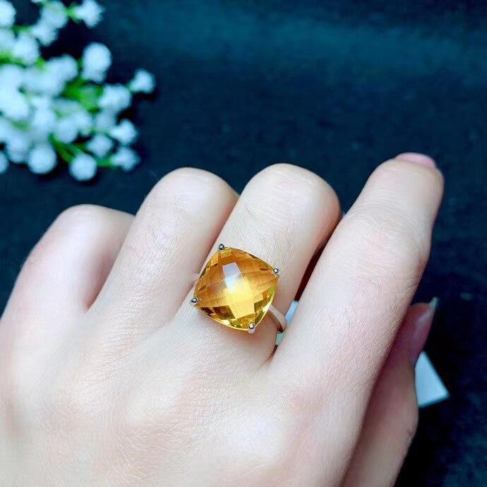 Bague Citrine jaune vif avec bijoux en argent