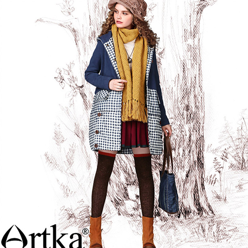 CLEARANCE ARTKA 2018 Winter Women's Vintage Plaid Stitching Single Breasted Hooded Long Thick Coat   Parka   MA11047D