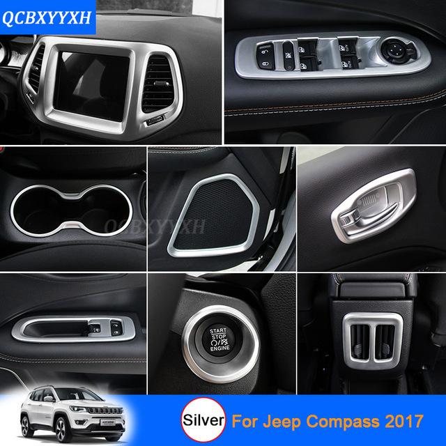 car styling silver color for jeep compass 2017 car interior decoration sequins car sticker inner. Black Bedroom Furniture Sets. Home Design Ideas