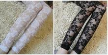 Retro Sexy Net yarn Lady Rose Lace Elegant Through Leggings Pants Footless Black White Women Summer Skinny Nine Pants