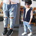 Nova primavera crianças maré jeans rasgado marca 2-7 anos meninos e meninas do bebê calças jeans de alta qualidade crianças das calças