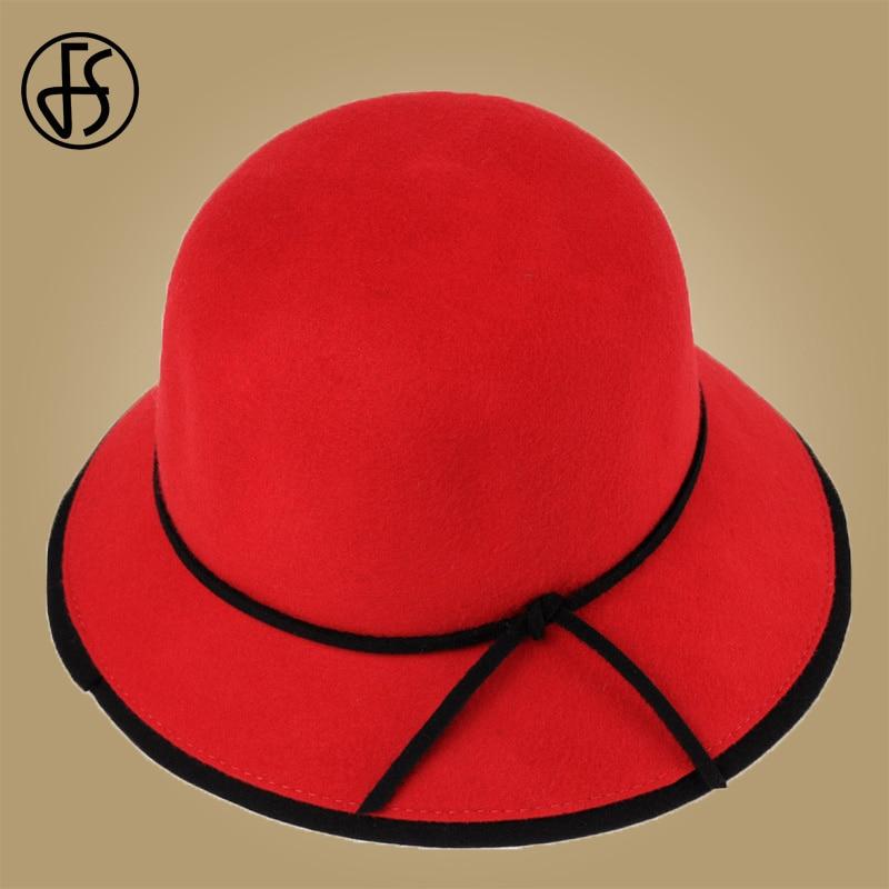 17070f8604b FS Black Red Wide Brim Wool Fedora Womens Hats Winter 2018 100% Felt Hat  With