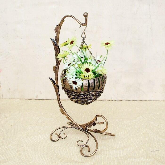 Hanging Flower Basket Supplies : Aliexpress buy vintage wrought iron hanging basket