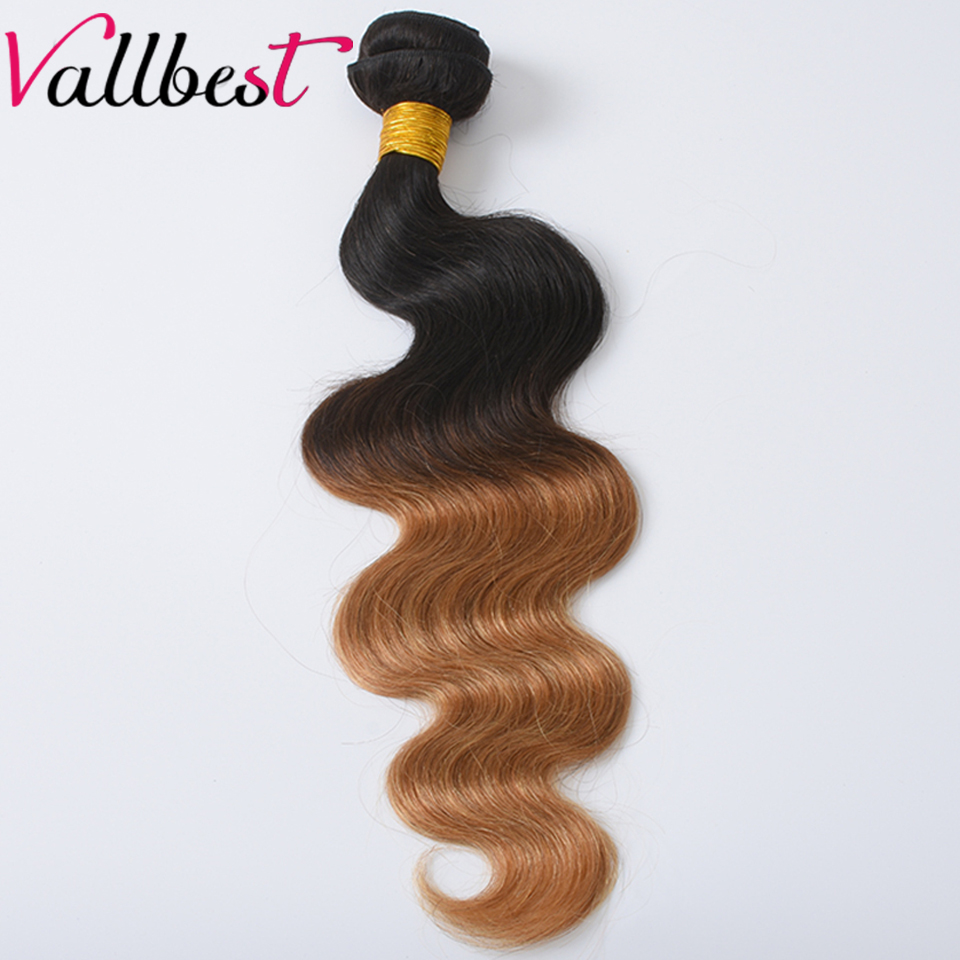Vallbest Brazilian Body Wave Ombre Hair Weave Human Hair Bundles 1B/27 Color 2 Tone Non Remy Hair Weave Can Be Curly and Dyed ...