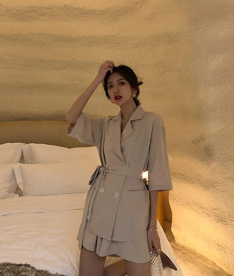 Summer Women Cotton Short Tracksuit Lace Up Jacket Blazer & Elastic Waist Shorts Loose Female Suit with shorts 2 Pieces Set 17