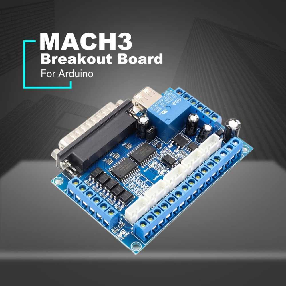 5 axis CNC Breakout Board Stepper Motor Driver MACH3 Parallel Port Control Module Controller with Optical Coupler USB Cable