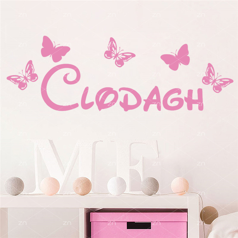 C215 Personalized Butterfly Wall Sticker Girls Room Decor Vinyl Wall Decal  Wall Art Poster Kids Room Decor