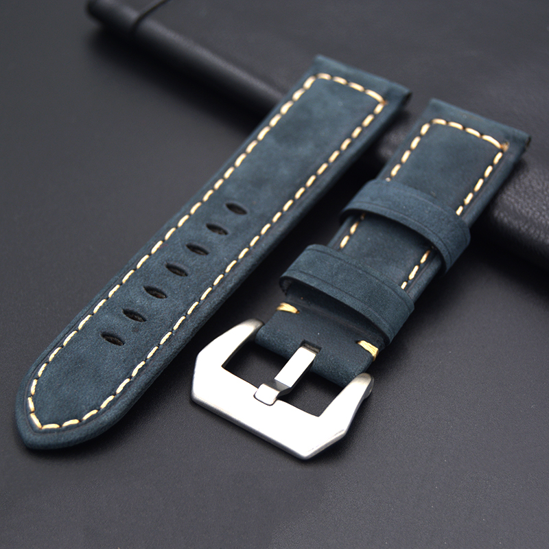 f5060d55b72 New quality Leather watch strap 22mm 24mm for Panerai Retro Watch Strap Band  Stainless steel buckle
