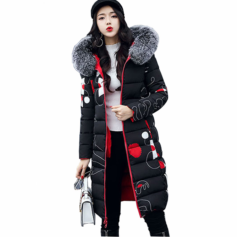 Winter Women Hooded Coat Fur Collar Thick Warm Long Quilted Jacket Print Double 2 Side Parka Female Plus Size Outwear