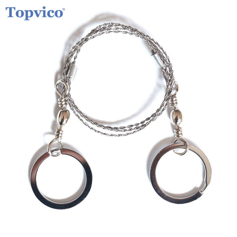Topvico Portable Stainless Steel Wire Saw Outdoor Survival Self Defense Personal Camping Hunting Chainsaws Hand Fret Saw Tools