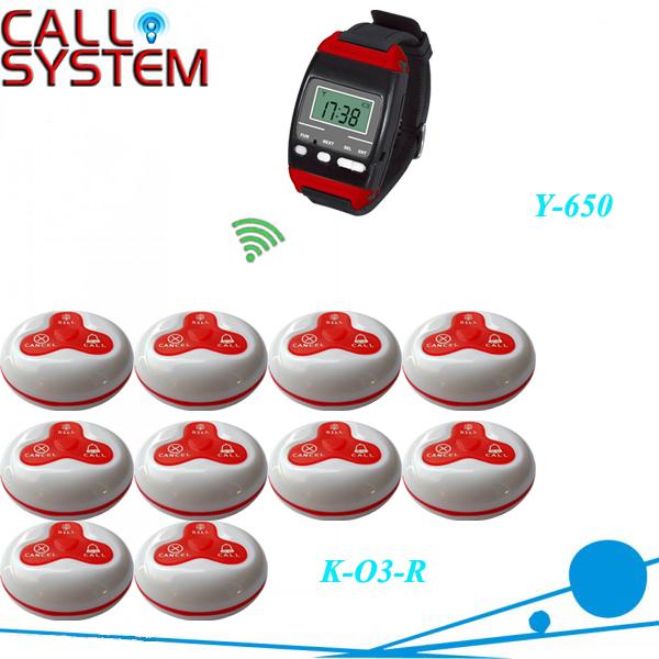 Wireless tabla servicio de camarero llamada sistema de radiobúsqueda w 10 unids 3-press tabla y 1 Wrust reloj, por DHL / EMS