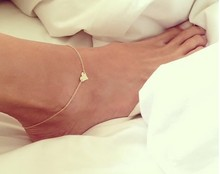 ФОТО anklet bracelet on a leg foot jewelry 18k gold plated heart anklet trendy foot chain bracelet on foot foot bracelets for women