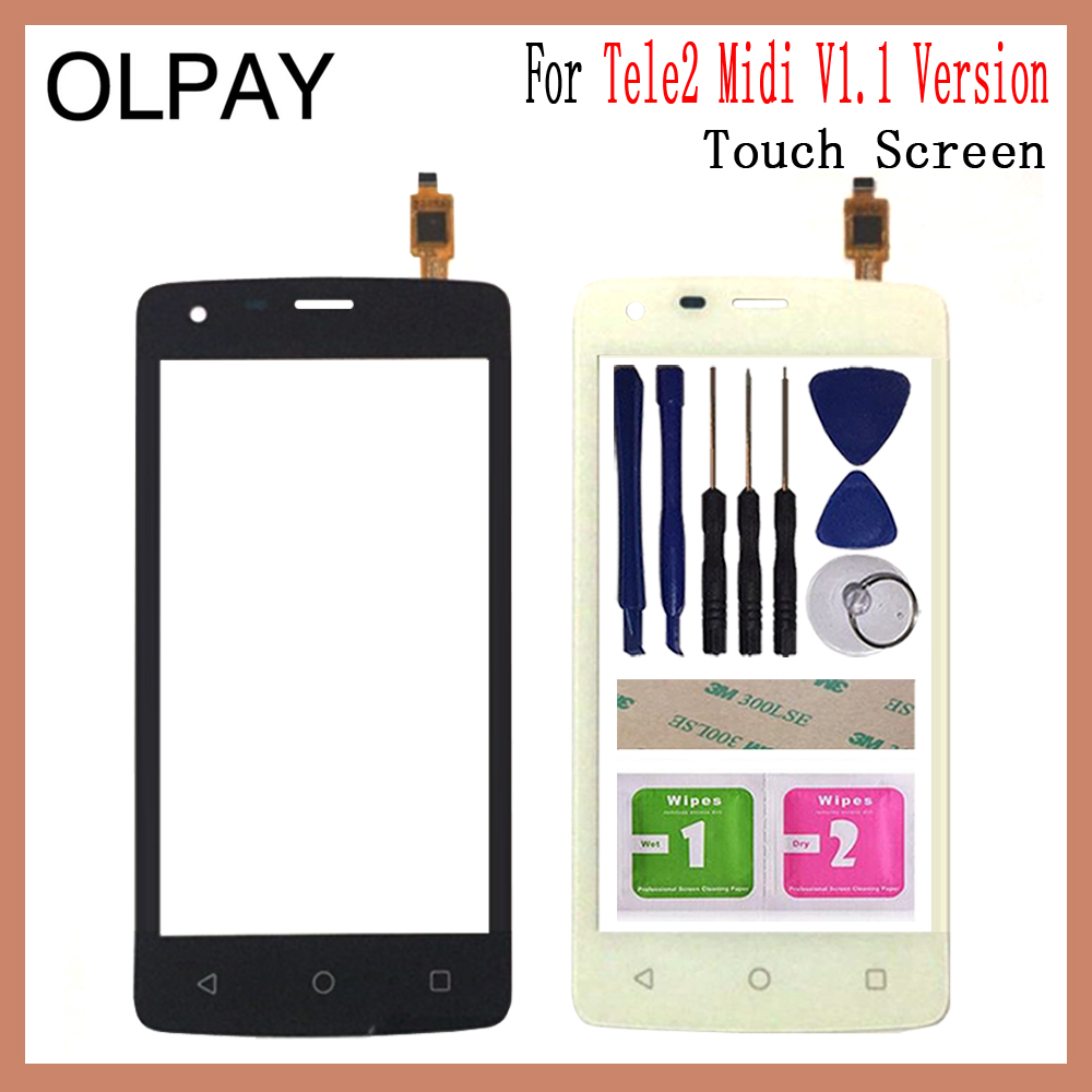 OLPAY 4.5'' Mobile Phone Touch Screen Digitizer For Tele2 Midi V1.1 1.1 Versions Touch Glass Sensor Tools Free Adhesive+Wipes