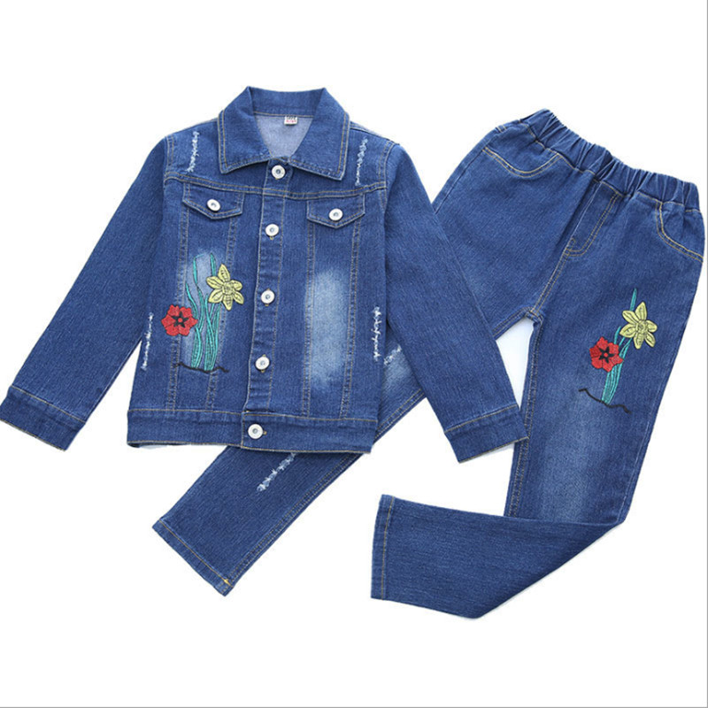Children's clothing girls suit spring and autumn new girls denim suit large children casual fashion two-piece suit children s clothing spring high quality cowboy three piece suit of the girls flowers fashion baby suit denim set for infants