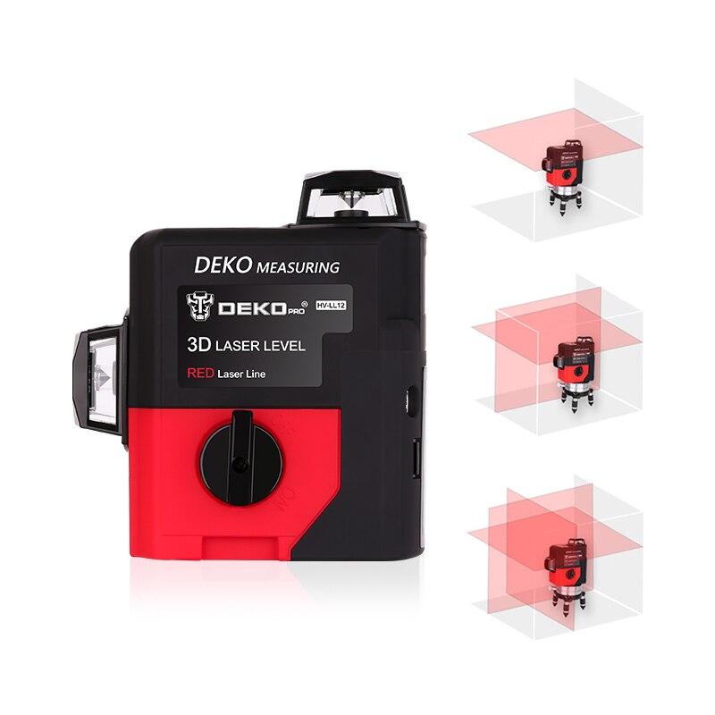 DEKOPRO LL12-HVR 12 линий 3D лазерный уровень наливные 360 горизонтальный и вертикальный крест супер мощный красный лазерный луч линия