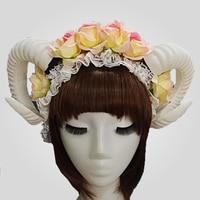 Halloween Gothic Lolita The Veil Demon Evil Sheep Horn Flowers Headband Hairband Accessory Cosplay Headwear Prop