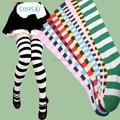 Frete grátis Panty & Stocking com Garterbelt colorido Stripe para cosplay e lolita meia