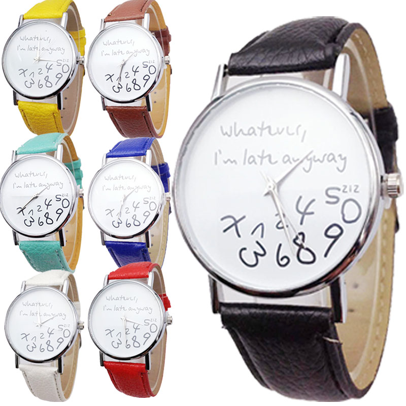 Whatever I Am Late Anyway Letter Pattern PU Leather Men Women Watches Fresh New Style Woman Wristwatch Dress Watch 88 LL стоимость