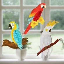 Tropical havaiano selva festa decoração 3 pçs pendurado favo de mel papagaios festa de aniversário decoração para casa flamingo luau suprimentos