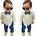 TZ296,New fashion False two-piece boys clothing sets bow tie style long sleeve + pants suits for a spring baby boy clothes suits