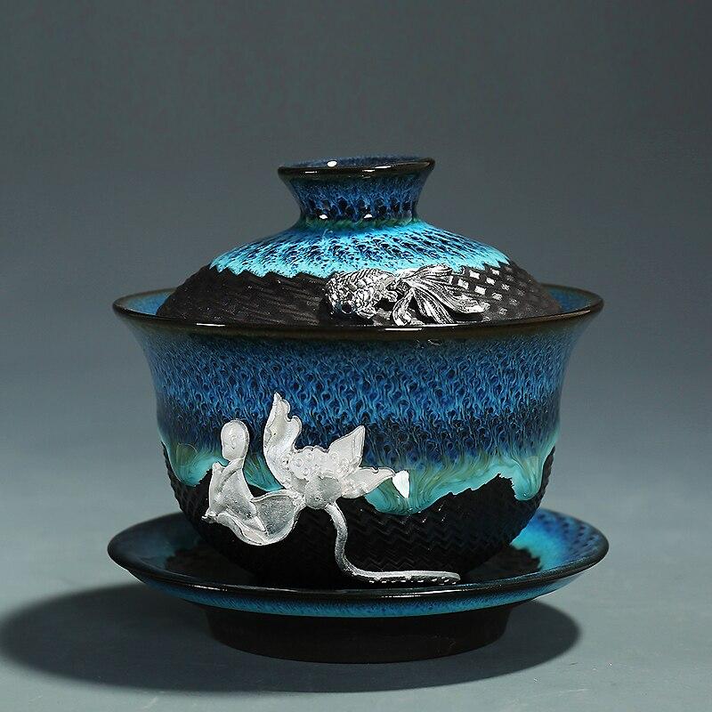 Creative Colored Ceramic Gaiwan Bowls 3