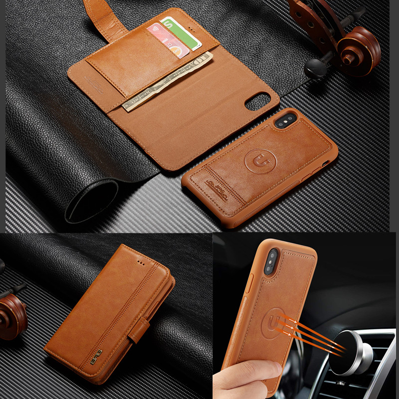 For iPhone 6S 7 8 Plus xs max XR Wallet Flip Leather Removable Magnetic Multi-functional