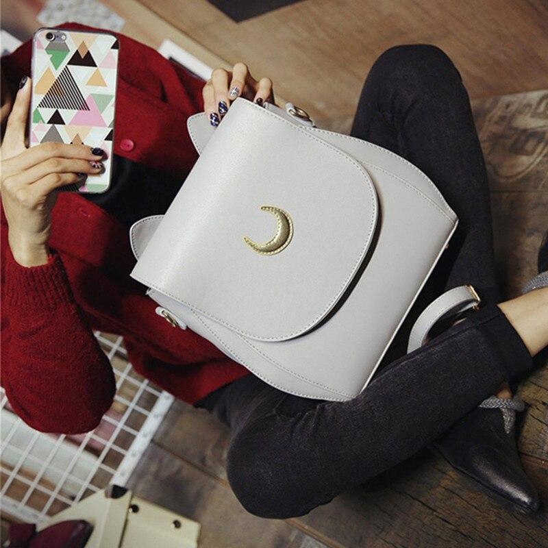 Korean Women Backpack PU Leather Sailor Moon Backpack Multifunction Black White Luna Cat Ladies Backpack Girls Travel Back <font><b>Pack</b></font>