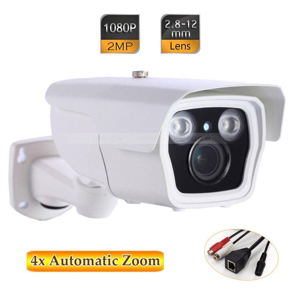 2MP 1080P IR CCTV IP Sony COMS Camera 2.8-12mm 4x Auto Zoom Two-way Audio free shipping auto focus 18x zoom hd sdi camera 1080p 720p 2 0 megapixel sony coms sony dsp support wdr osd wab dpc