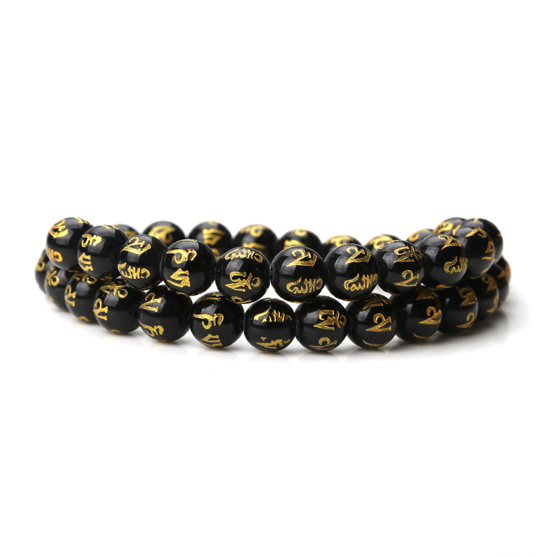 1 String 6/8/10/12mm Schwarz Natürliche Stein Gebet Perlen Runde Mantra Buddha Perlen Für Armband Halskette Schmuck, Die Entdeckungen Rheuma Und ErkäLtung Lindern