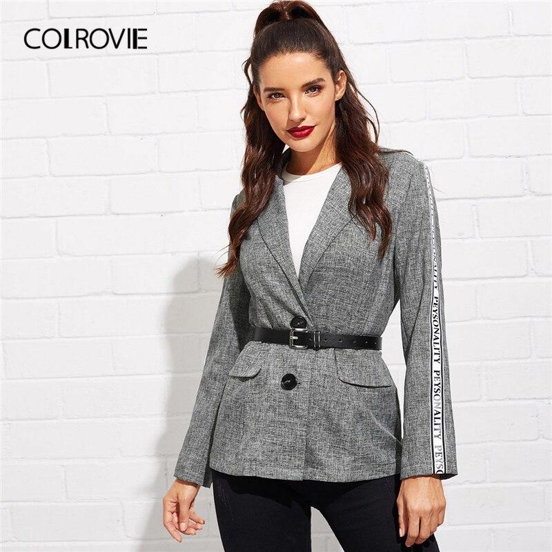 COLROVIE Grey Peak Lapel Lettering Tape Ladies Blazer Women Jackets Without Belt 2019 Spring Single Breasted Office Lady Coat