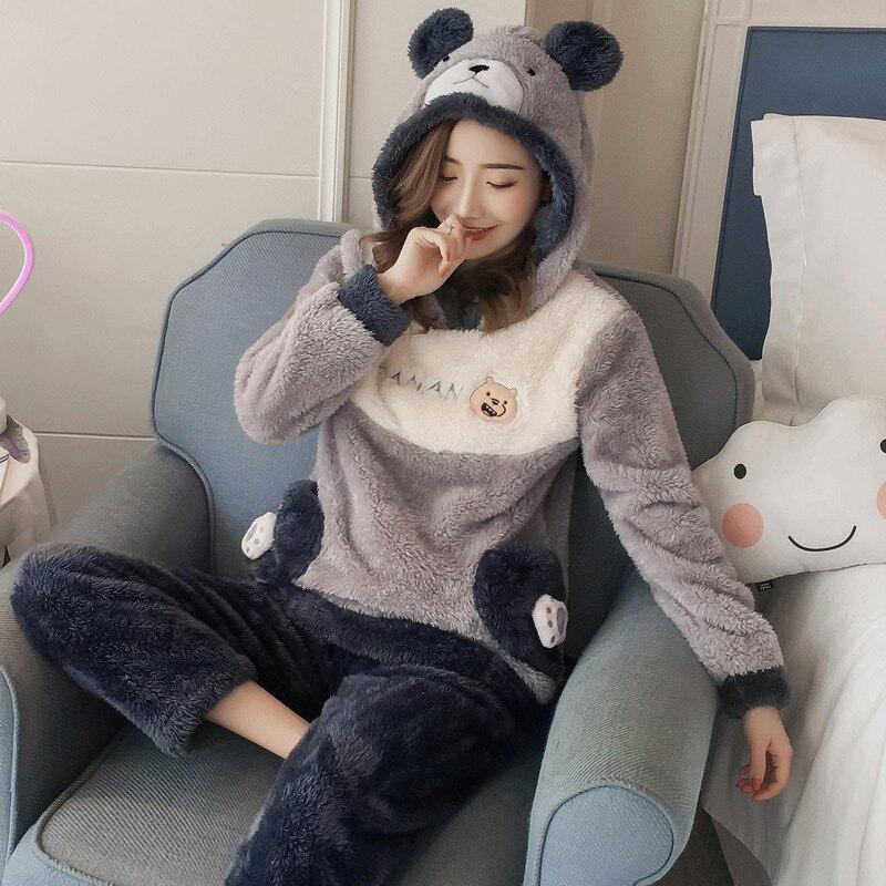 Flannel cartoon bear Winter Womens   Pajamas     Sets     Pajamas   Pijama Pyjama Women pockets Pijama Mujer Pijamas Entero Cute Pyjama