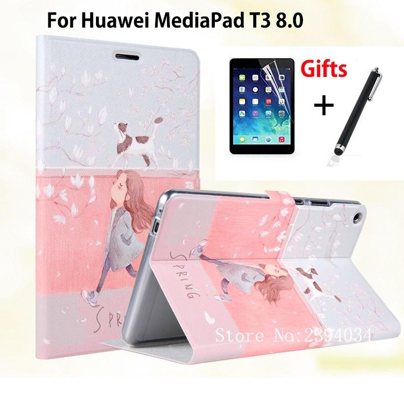 Узкие модные PU чехол для Huawei MediaPad T3 8.0 kob-l09 kob-w09 Smart Cover принципиально для Honor Play Pad 2 8.0 кожного покрова + Плёнки + ручка ...