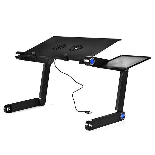 Portable Metal Laptop Table Folding Notebook Desktop Holder With Cooling Fan Bed Table Tray Desk Study Desk Laptop Stand