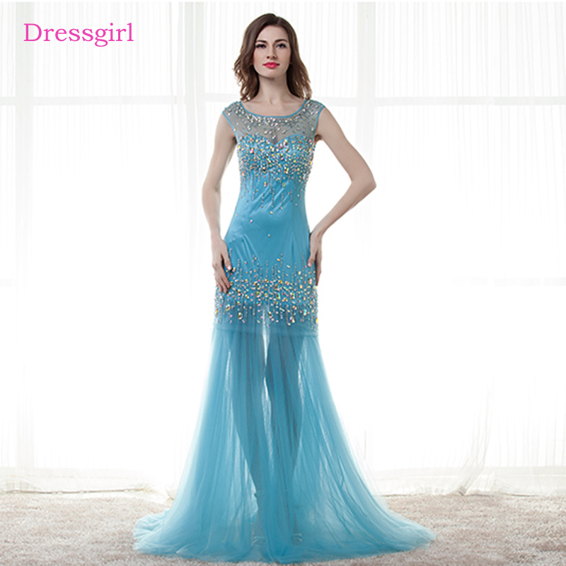 Sky Blue 2019   Prom     Dresses   Mermaid Cap Sleeves Tulle Beaded Crystals Long Women   Prom   Gown Evening   Dresses   Robe De Soiree