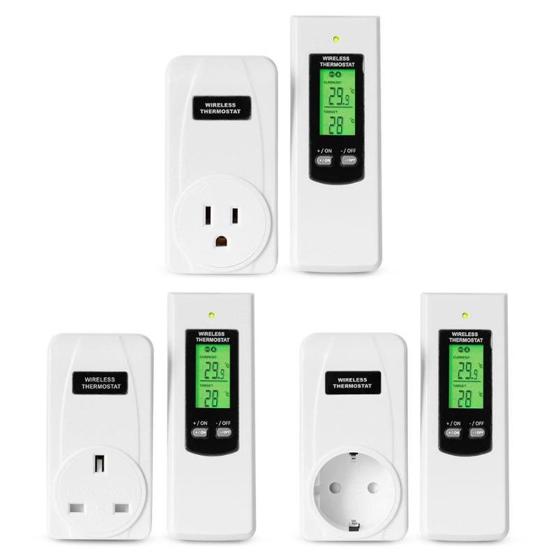 TS-808 Wireless Thermostat Temperature Controller Socket w/Green Backlight Control Various Indoor Electronic Heating Equipment(China)