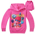 2016 New Hot kids Clothing Trolls Hoodies Kids Girls Spring Autumn Thin Sweater Long Sleeve Outwear Baby Clothes For 4-10 Years