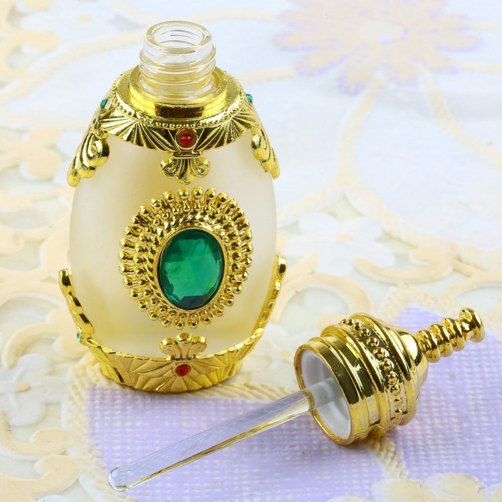 цена на Antique Empty Glass Metal Art Deco Perfume Bottle Emerald Diamond Gift 15ml